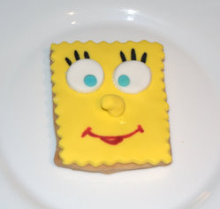 Galleta decorada con fondant de Bob Esponja