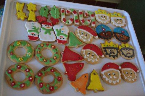 Galletas de Navidad de glasa y fondant