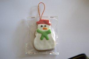 Galleta de muñeco de nieve con fondant y glasa