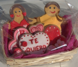 Cesta de galletas para San Valentín