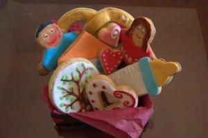 Cesta de galletas fondant para San Valentín