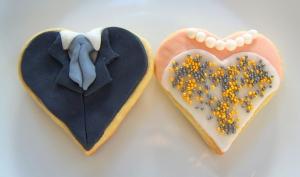 Galletas fondant de corazones para boda