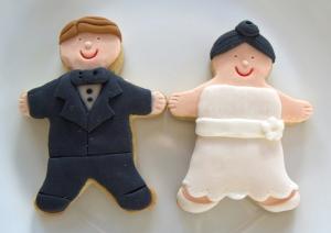 Galletas fondant de pareja para boda