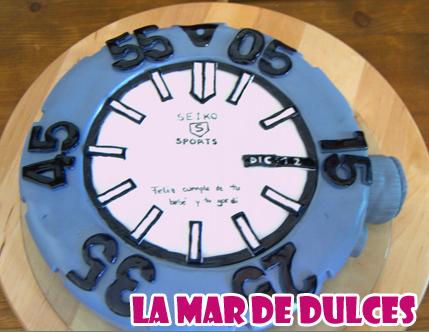 Tarta fondant de reloj para Puerto Real - Cádiz