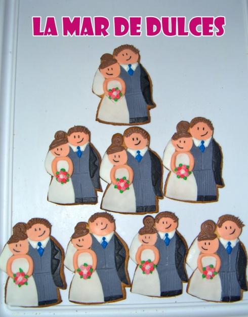 Galletas fondant de pareja de novios