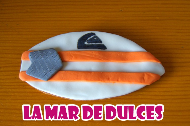 Galleta fondant de tabla de surf