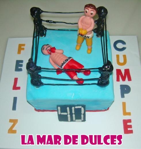 Tarta fondant de ring de boxeo Sevilla