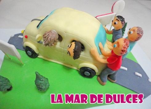 Tarta fondant Sevilla de coche seiscientos