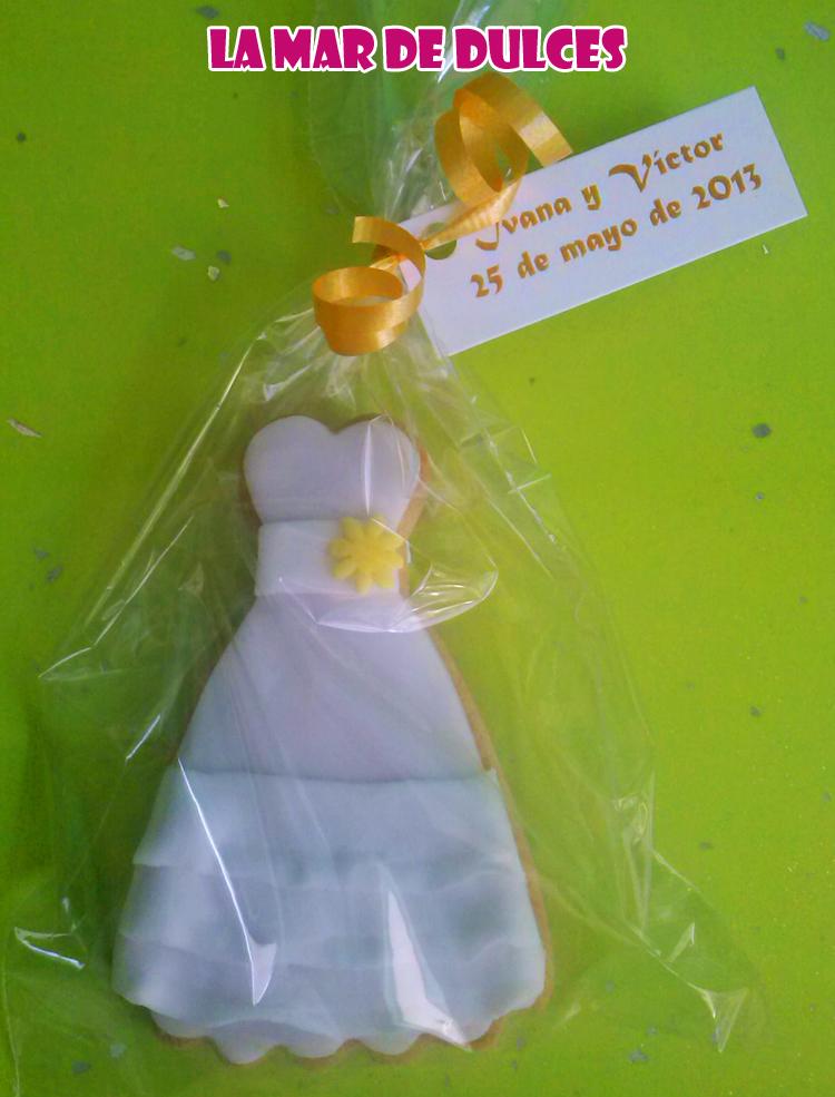 Galleta decorada de vestido de novia