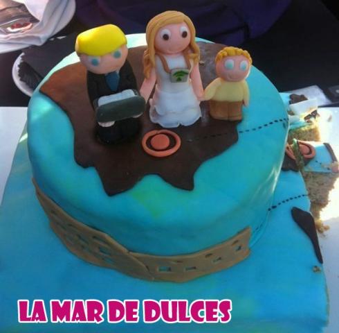 Tarta fondant para boda en Sevilla