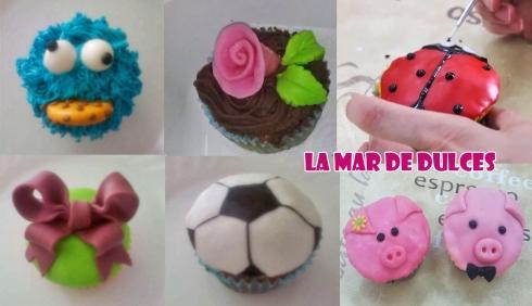 Cupcakes decorados con crema y fondant