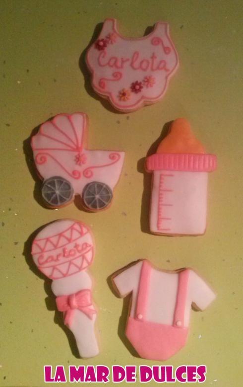 Galletas decoradas con glasa y fondant para Bautizo de niña