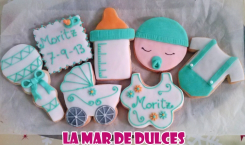 Galletas decoradas con glasa y fondant para Bautizo de niño