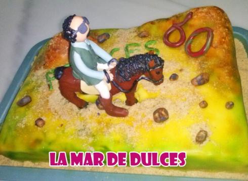Tarta fondant de jinete y caballo Sevilla