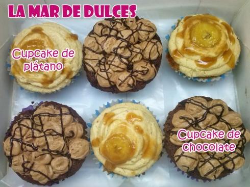 Cupcakes de chocolate con trufa y cupcakes de platano con crema de cacahuete