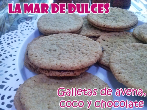 Galletas de avena, coco y chocolate