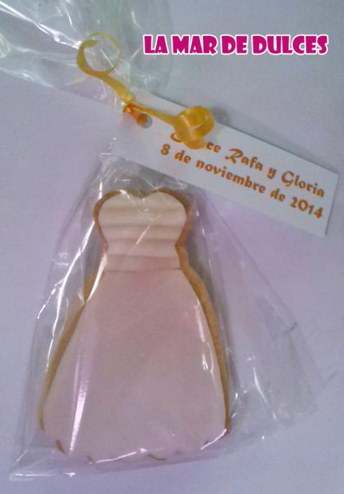 Galletas decoradas de vestido de novia para boda Sevilla