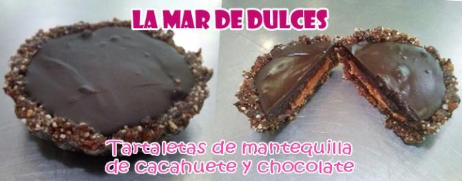Tartaletas de mantequilla de cacahuete, chocolate y frutos secos