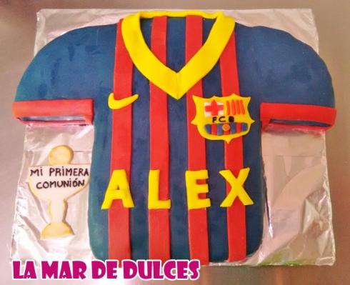 Tarta fondant de la camiseta del Barça Sevilla