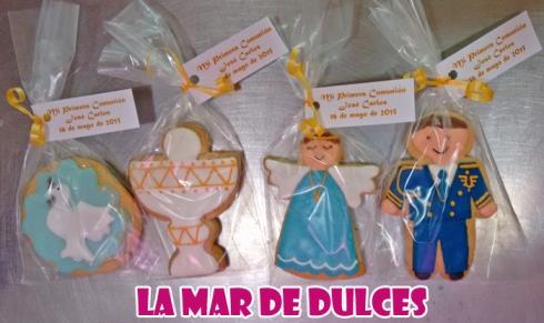 Galletas decoradas de ángel, paloma, cáliz y almirante para comunión Sevilla