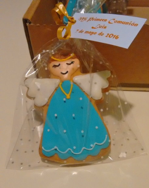 Galletas decoradas de angelito para comunión